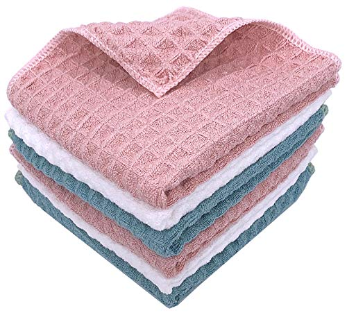 Honbly Waffle Weave Microfiber TowelUltra Absorbent and Thick Dish Clothes for Washing DishesFast Drying Cleaning Towels12 x 12 Inch Pack of 6 Mixed ColorBlue White Pink