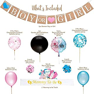 """Mumoo Bear Gender Reveal Party Supplies and Baby Shower Boy or Girl Kit (64 Pieces) - Including 36"""" Reveal Balloon, Confet..."""