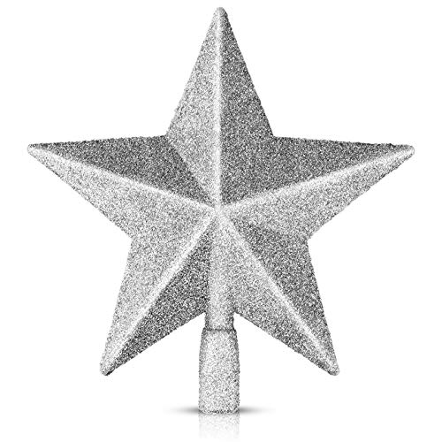 EAONE 1 Pack 8' Star Christmas Tree Topper, Silver Glittered Christmas Tree Decoration for Party Home Decor