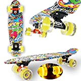 "WeLLIFE Skateboard Mini Cruiser RGX Tavola Skate 22"" 56cm per Giovani Ragazzi Adulti, Ruote Luminose PU 78A con Luci Flash LED Cuscinetti ABEC-7RS… (Comics)"