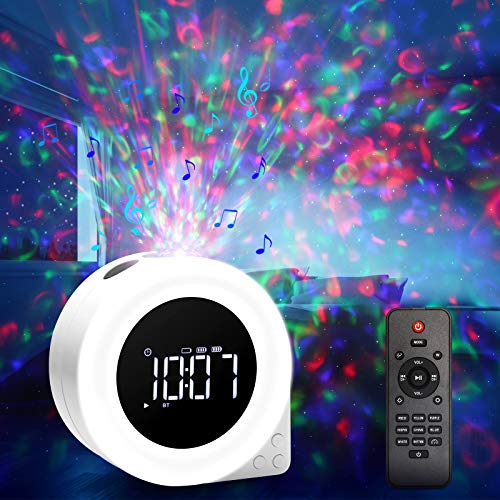 Star Projector Night Light,ROTEK Multifunctional Galaxy Projector with 8 Lighting Effects,Alarm Clock LED Night Light,White Noise Sound Bluetooth Speaker with Remote Control for Kids Adult Bedroom