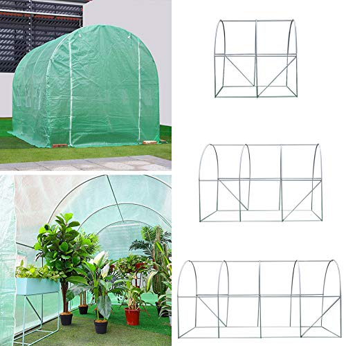 The Fellie Polytunnel Greenhouse Grow House Frame Garden Planting Shed with Green PE Cover Metal Frame 19mm Galvanised Steel Frame, 4x2x2M