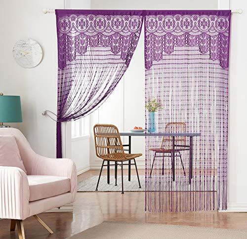 HSYLYM Lace Door Srting Curtain Warm Sheer Curtains Flat Tassel Ribbon Curtain Window Panel Room Divider Wall Decorations,Purple,90x200cm(35x79inch)