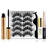 5 Pairs Natural Flase Eyelashes & Liquid Eyeliner & Mascara Kit Comes with Tweezers, Glue, Soft Reusable Eye Lashes Thick Long Styles