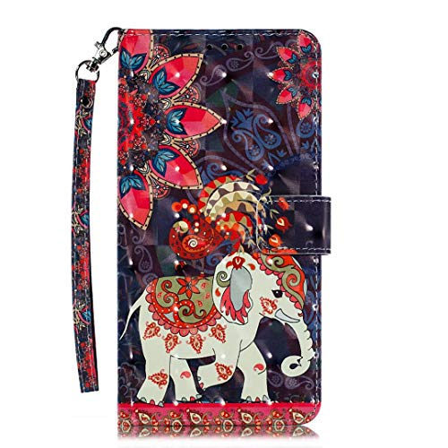 iPhone 12 Mini Phone Case, 3D Painted Shock-Absorption Flip PU Leather Notebook Wallet Cases Folio Magnetic Protective Cover TPU Bumper for iPhone 12 Mini with Stand Card Holder Slots Phoenix Elephant