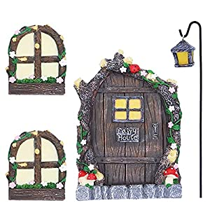 gearific fairy door with windows latern for tree and yard decor 5 pcs miniature fairy garden kit shine in the dark fairy door for wall decoration chiritmas birthday gift for child