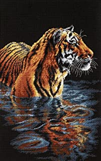 Dimensions 'Tiger Chilling Out' Counted Cross Stitch Kit, 18 Count Black Aida, 9