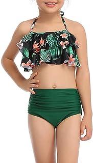 Traje de baño para Mujeres/niños Dos Piezas Volantes con Estampado Sexy Trajes de baño de Cintura Alta Bikini Vestido de P...
