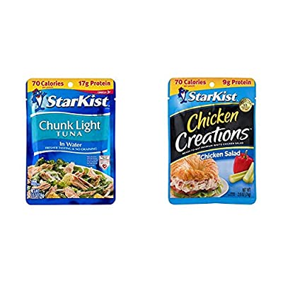 StarKist Chunk Light Tuna in Water, 2.6 oz. Pouch, Pack of 24 & Chicken Creations, Chicken Salad, 2.6 oz Pouch (Pack of 12)