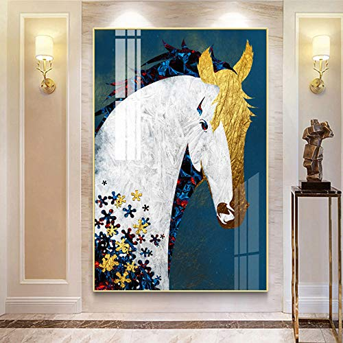 N / A Golden Horse Wall Art Poster Abstract Animal Canvas Painting Living Room Home Decoration Picture Unique Gift Frameless 20x30cm