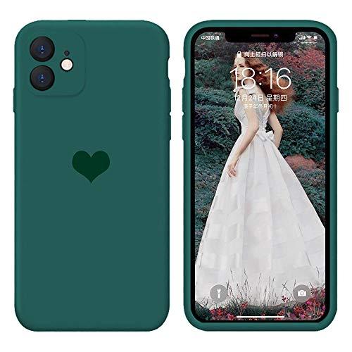 13peas Kompatibel mit iPhone 12 Hülle 6,1''(2020),Herz Motiv Liquid Silikon Gummi Ganzkörperschutz stoßfeste Case schutzschale Hüllen Tasche Handytasche Etui für Apple 12 (Dunkelgrün)