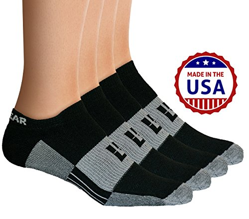 MudGear No-Show Socks - Premium Mens & Womens Below Ankle Running, Athletic Sports - Black/Gray - Size Large (2 Pairs)