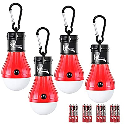 DealBang Outdoor Camping Lights and Lanterns, Pop Up Tent LED Light for Party,Kids (Pack of 4, Red)