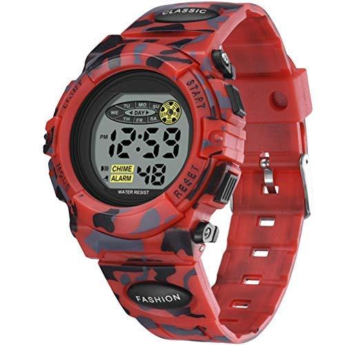 Reloj digital para niños, reloj digital deportivo, impermeable, informal, reloj electrónico con 7 colores LED con alarma, relojes de pulsera para niños y niñas