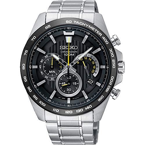 Seiko heren chronograaf kwarts horloge met roestvrij stalen armband SSB303P1