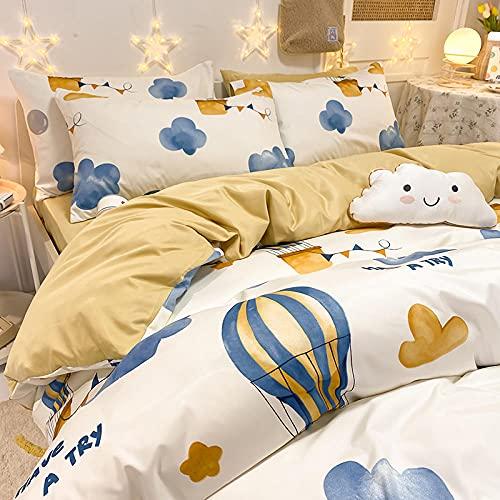 juego de ropa de cama 160x200,Seda de hielo Seda de cuatro piezas Lavado de agua Lavado Siludo Smooth Girl Heart Xiaoqing Nuevo Cama Suministros-A_1,8 m de cama (4 piezas) - adecuado para el núcleo 2