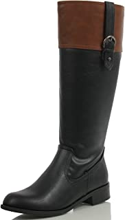 two toned boots black and brown
