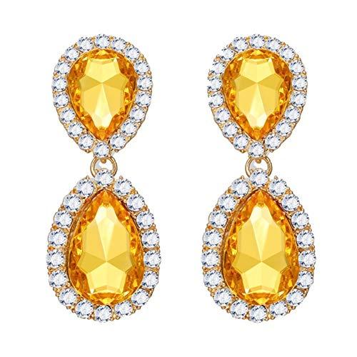 MSYOU Women Elegant Earring Creative Yellow Diamond Pendant Earrings Jewelry Accessories for Lady