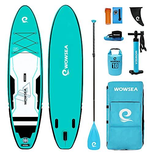 "WOWSEA Trophy T2 サップ インフレータブル スタンドアップパドルボード 10.6'(320cm)×32""(80cm)×6""(15cm) 安定性抜群 SUPボード ヨガ 釣り 海 夏 セット グリーン"