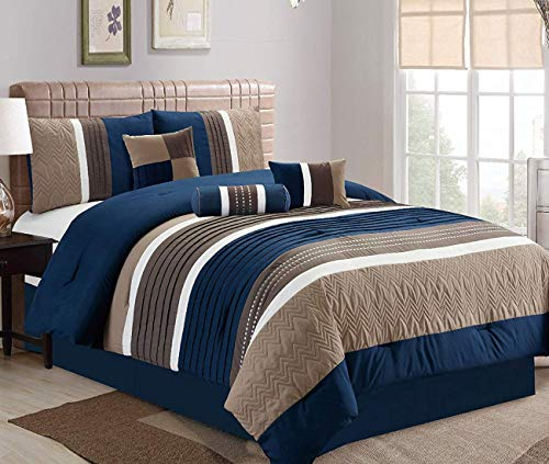 JBFF Queen 7 Piece Collection Bed in Bag Luxury Stripe Microfiber Comforter Set