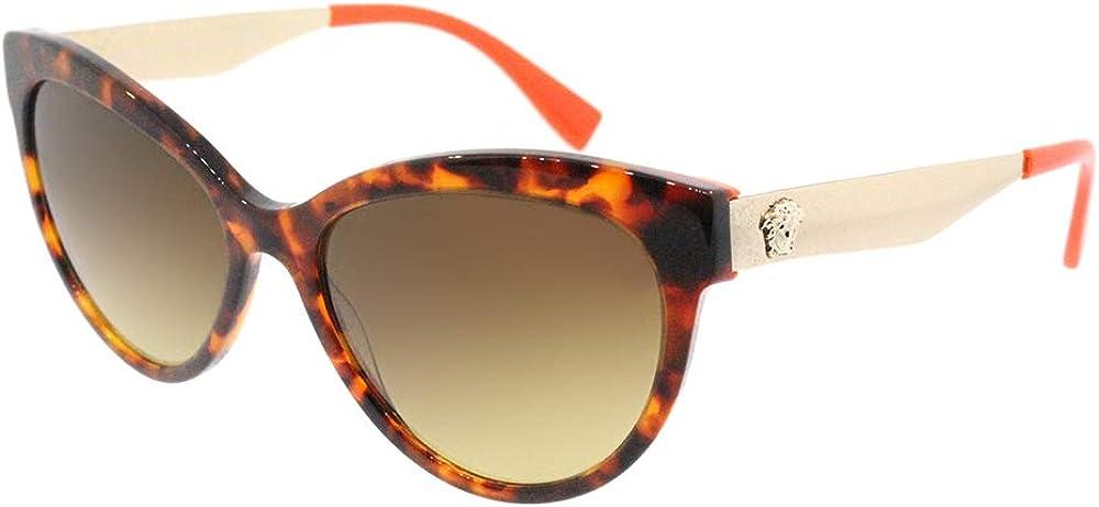 Versace, occhiali da sole da donna, montatura tartarugata, aste in metallo 0VE4338