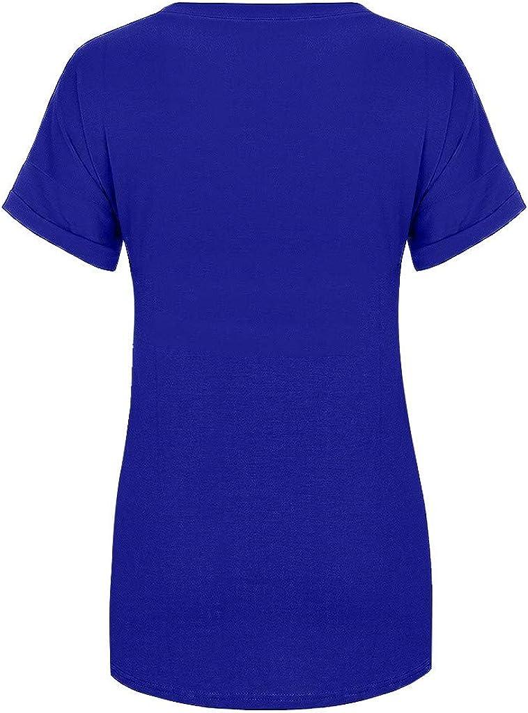 kaifongfu Womens Striped Tee Shirts Casual Loose V Neck Short Sleeve Plus Size Top Tunic T-Shirt