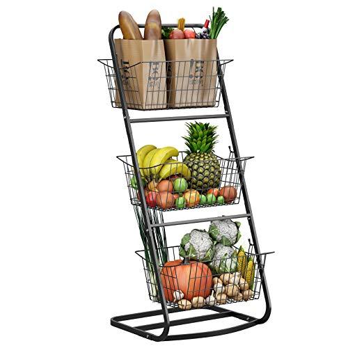 3 Tier Market Basket Stand,HOWDIA Fruit Baskets with Removable Baskets - Kitchen Organizer - Fruit Vegetable Produce Metal Hanging Storage Bin for Pantry Bathroom Kitchen (3 Tier Basket)