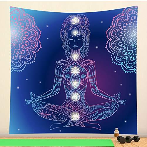 Tapiz de Mandala místico indio decoración de pared brujería hippie bohemio decoración del hogar tapiz de tela de fondo a10 150x200cm