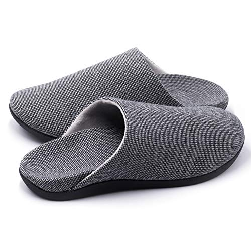 Slippers with Arch Support, Comfortable Orthopedic Sandals for Plantar Fasciitis Flat Foot House Outdoor, Grey, Women US 8