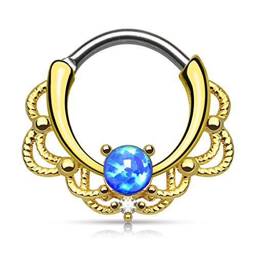 Gekko Body Jewellery Gold Plated Lacey Single Blue Opal Septum Clicker Nose...