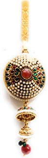 Soni's Gold Plated Round Shape Pearl,Red and Green Stone Waist challa for Women and Girls