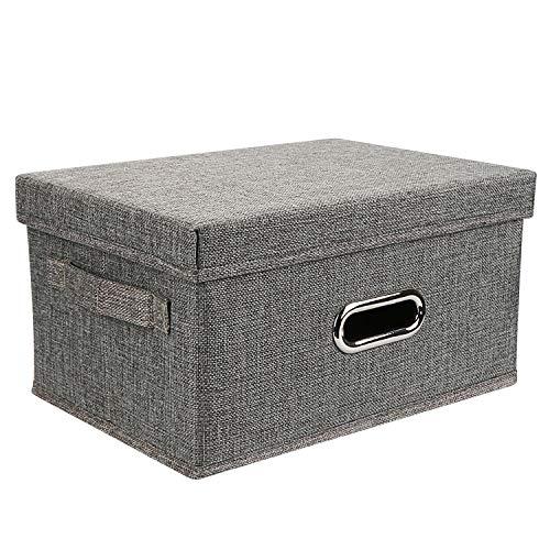Caja de almacenamiento Redmoo, cesta de ropa plegable de tela de lino, con tapa, caja de almacenamiento plegable para guardarropa, ropa, libros, cosméticos, juguetes (gris, S, 32x24x18cm)