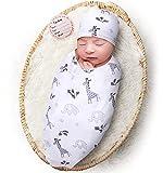 Newborn Receiving Blanket Hat Set, Soft Babies Nursery Swaddle Wrap for Infant Boy Girl, Stretchy Swaddling Sleep Sack, Baby Photography Props (Giraffe)