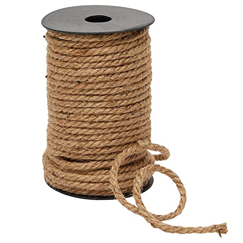 Nautical Rope for Crafts 100 Feet 5mm, Thick Hemp Jute Twine, Brown