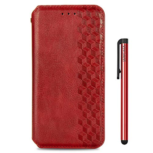 JAWCASA Funda para OnePlus 8T, Billetera Flip Funda de Piel PU Cubierta Cierre Magnética Delgada [Soporte Plegable] [Ranura para Tarjeta] Protectora Case para OnePlus 8T (Rojo)