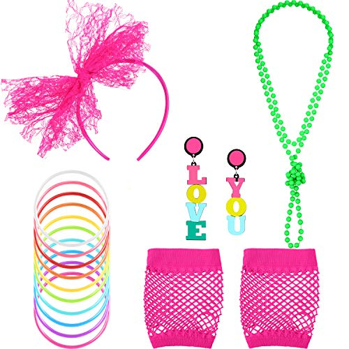 80s Neon Accessories Set for Women with Love You Earrings
