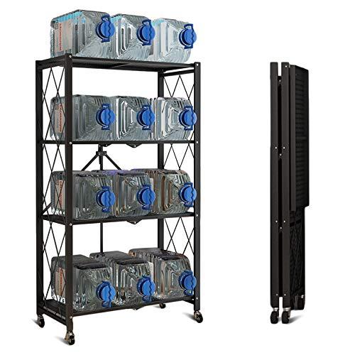 Storage Shelves 4-Shelf Foldable Metal Shelving Units 28 W x 14 D x 50 H for Garage Kitchen Bakers Closet Metal Wire Collapsible Organizer Rack Heavy Duty on Wheels 4 -Shelf