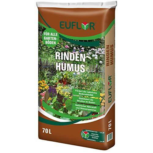 Euflor Rindenhumus 70 L Sack, natürlicher Zuschlagstoff aus Reiner kompostierter Nadelholzrinde zur Bodenverbesserung