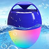 Portable Bluetooth Pool Speaker,Hot Tub Speaker with Colorful Lights,IP68 Waterproof Floating Speaker,360° Surround Stereo Sound,85ft Bluetooth Range,Hands-Free Wireless Speakers for Shower Spa Home