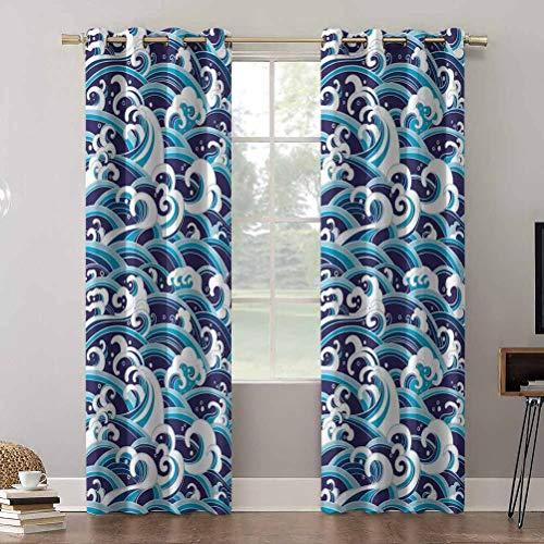 Aishare Store - Cortinas con bloqueo de luz, diseño tradicional con ondas de espuma de agua, cortinas para dormitorio (2 paneles)