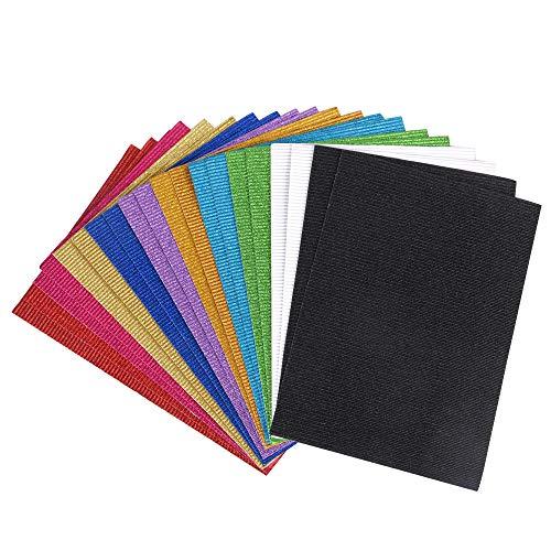 ewtshop® Glitzer Wellpappe, 20 Blatt, Format DIN A4, 10, einseitiger Druck