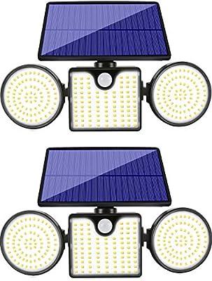 Woenergy Upgraded Solar Motion Sensor Security Lights,3-Head 260 LED Ultra Bright Spotlights Waterproof Solar Flood Lights 360° Adjustable Outdoor Solar Lights for Garage Yard Patio (2 Pack)