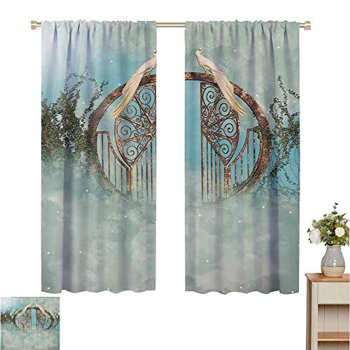 """Price comparison product image curtains for bedroom Fantasy House Decor Collection, Fantasy scene In Heaven With Gate Greenery Birds Stars Decorative Artwork fog, Turquoise, Darkening and Thermal Insulating Draperies 42""""W x 45""""L"""
