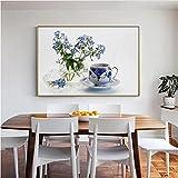 WHMQJQ Leinwand Malerei Kristallvase Und Bunte Blumen