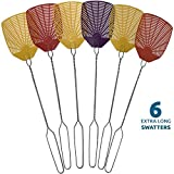 W4W Bug & Fly Swatter – Extra Long Handle 6 Pack Fly Swatters – Indoor/Outdoor – Pest Control...