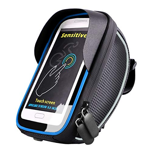 YESBAY Bike Phone Mount Bag, Bicycle Touch Screen Waterproof Bag Mountain Bike Front Beam Pouch Riding Sack Blue