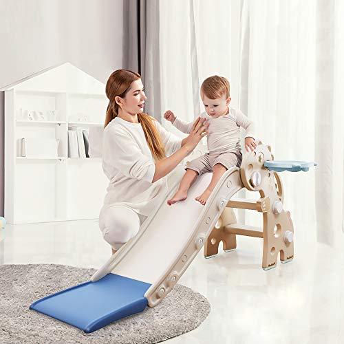 HAPPYMATY Kinderrutsche Mini Rutsche für Kleinkinder Rutsche Indoor klappbar Dinosaurier Rutsche für Babys ab 10 Monate 115cm Rutschbahn weiß