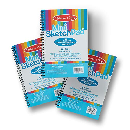 Melissa & Doug Mini Sketch Pad of Paper (6 x 9 inches) - 50 Sheets, 3-Pack