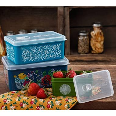 The Pioneer Woman Rectangular Food Storage with Vent Container Set, Set of 3 in Country Garden
