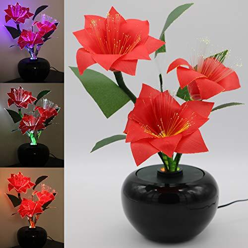 Tronje LED-Kunstblume Rot H:40cm Weihnachtsstern Christstern 3W LED-Blume 3 Blüten optische Fasern Farbwechsel